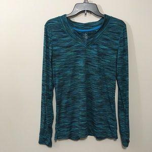 3/$15 Cuddl Duds Flex Fit Striped Shirt L